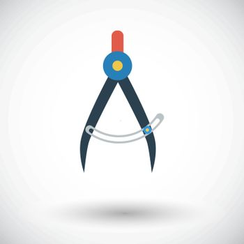 Compass. Single flat icon on white background. Vector illustration.