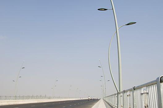 Street Light Along Wide Highway