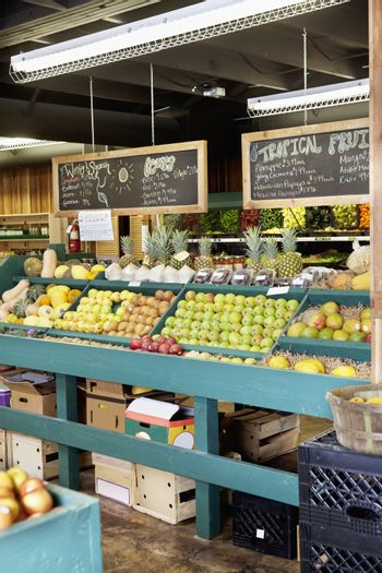 Fresh fruits stall in supermarket