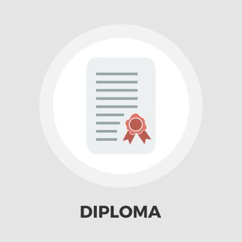 Diploma icon vector. Flat icon isolated on the white background. Editable EPS file. Vector illustration.