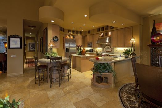 Contemporary kitchen in luxury manor house