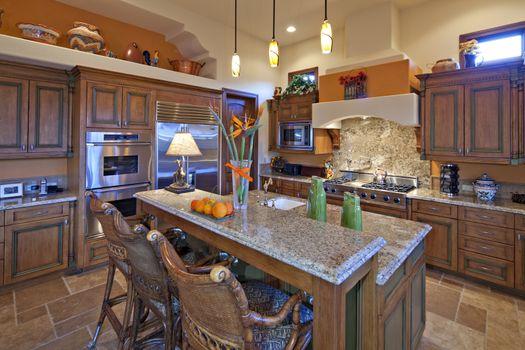 Contemporary kitchen interior of luxury mansion
