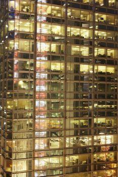 Illuminated office building facade