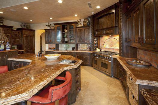Contemporary kitchen interior design in mansion