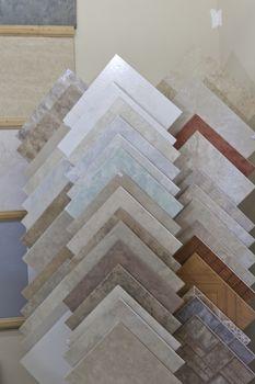 Sample tiles on display in store