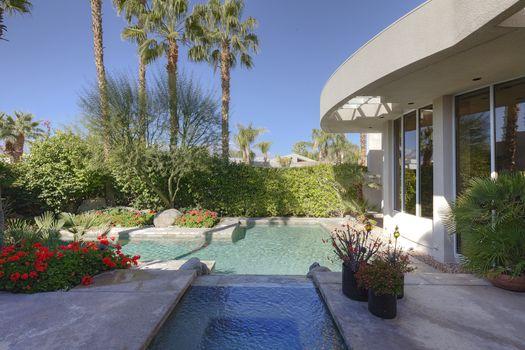 Swimming pool outside villa