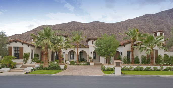 Facade of luxury mansion