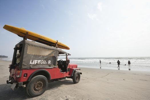 Lifeguard vehicle at Anjuna Beach, Goa, India