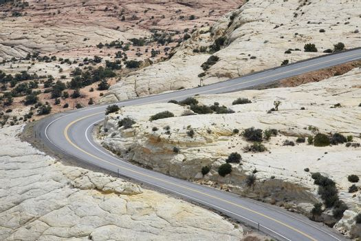 Road through barren desert elevated view