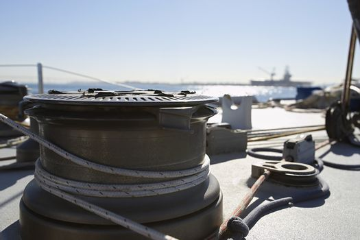 Rope fastened on boat