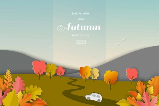 Landscape of autumn or fall background with colorful leaves for shopping promotion,web banner,poster or flyer,vector illustration