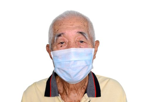 Portrait of an asian senior man, 80 years old wearing medical mask. A concept of the danger of coronavirus for the elderly.