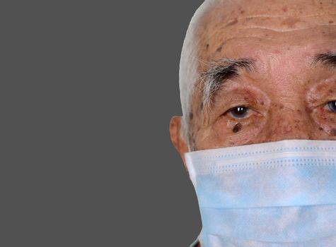 Portrait of an asian senior man, 80 years old wearing medical mask. A concept of the danger of coronavirus covid-19 pandemic for the elderly.