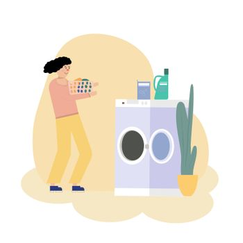 Illustration of a Girl Placing Laundry in a Washing Machine at a Laundromat.