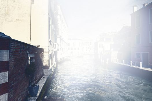 Deserted Venice at dawn in a contemporary style.  Museum City is situated across a group of islands that are separated by canals and linked by empty bridges.