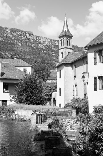 Deserted sights in France in black and white. Castle in medieval French city of Florac