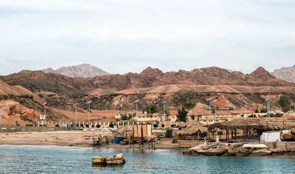 slums fishing village without people on the shores of the Red Sea in Egypt