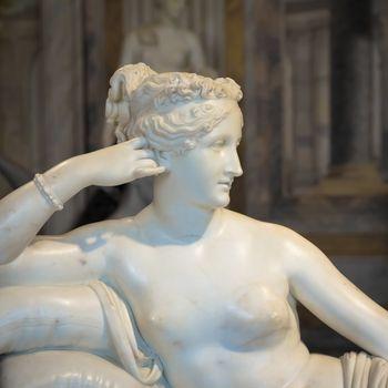 ROME, ITALY - AUGUST 24, 2018: detail of Antonio Canova's Statue of Pauline Bonaparte, his masterpiece located in Villa Borghese