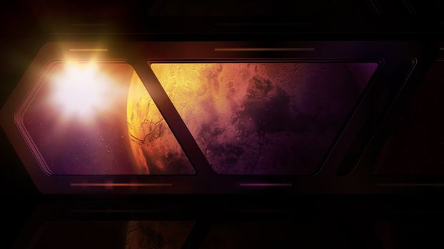 Mars and sun glare from the window of a space station.