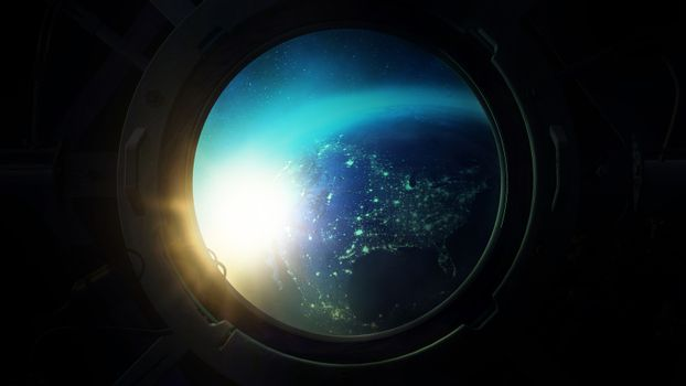 View of the night globe from the porthole.