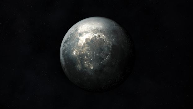 Dark gray realistic image of the moon in outer space.