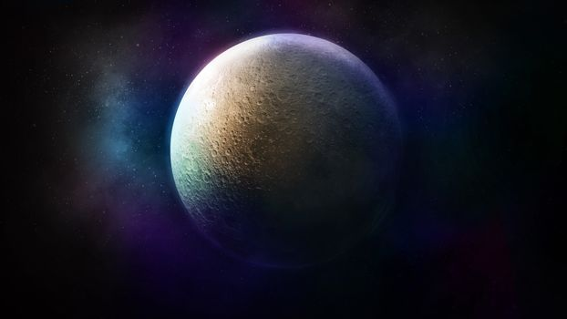 Fantastic view of the mysterious moon in colorful space.
