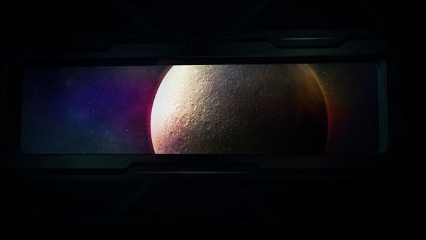Fantastic moon in the porthole of a spacecraft. 3D render