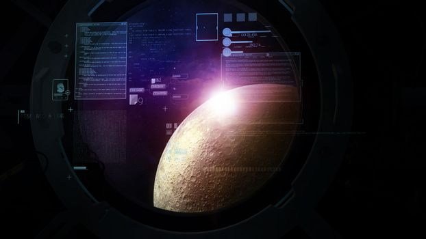 Flight calculations on the background of the brightly lit moon in the porthole.