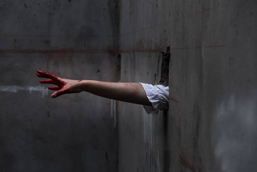 Hand of Ghost woman or Zombie Penetrate wall ,halloween concept