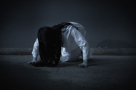 Horror woman ghost creepy crawling, halloween day concept