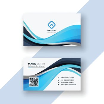 abstract blue wavy business card template