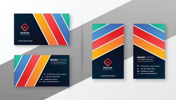 abstract colorful stripes business card design