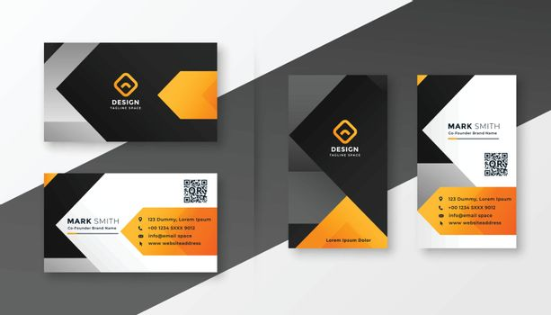 abstract orange theme business card design