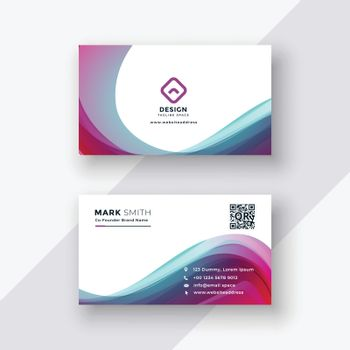 stylish colorful wavy business card design