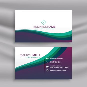 stylish modern wavy business card design