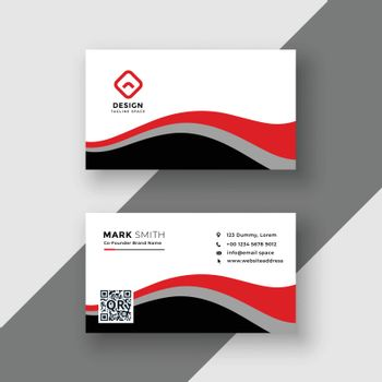 abstract red wavy business card design