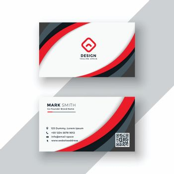 red wavy business card design