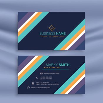 stylish dark business card design with diagonal lines