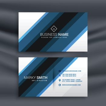 blue and white business card in diagonal lines shapes