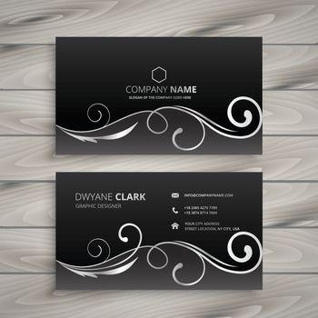 floral dark business card