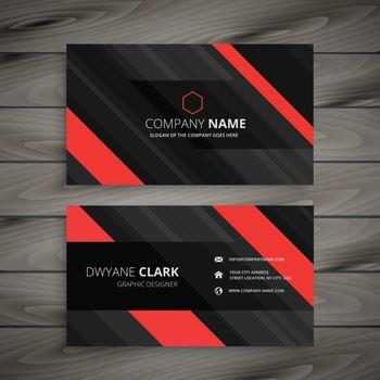 red black business card stripes design