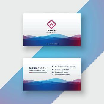 stylish vibrant wavy business card design
