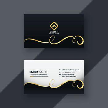 premium business card design in dark theme