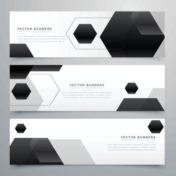 abstract hexagonal black header banners background