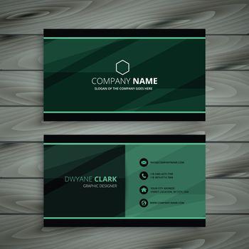 green dark business card