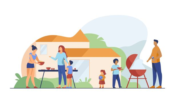 Family on BBQ party on backyard flat vector illustration