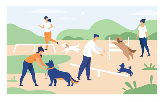 Happy people training dogs on jumping equipment in city park area. Vector illustration can be used for animal care, pets, hobby, community, lifestyle, friends, fun concept