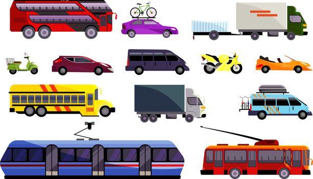 Set of various land vehicles