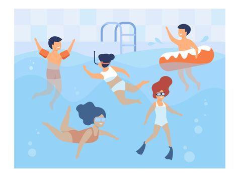 Happy kids swimming in pool