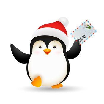 Happy Xmas penguin holding postcard
